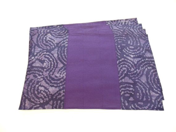 Purple Placemats Batik Quilted Fabric Modern by FernsAtTheLake, $39.00