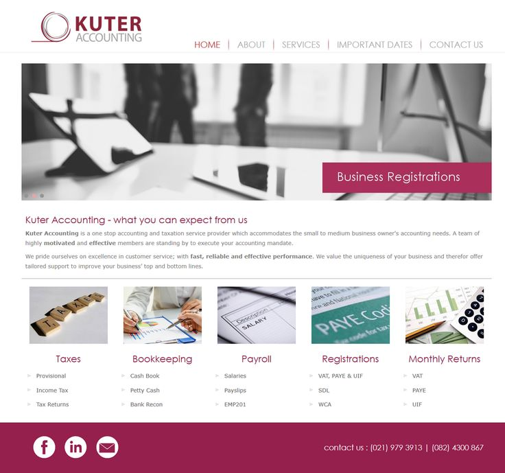 New website for Kuter Accounting - taxaction and accounting services company in Cape Town, South Africa http://www.kuteraccounting.co.za/
