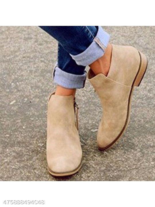 e27a83e1642c8 Plain Flat Velvet Round Toe Outdoor Ankle Boots | Women's Shoes ...