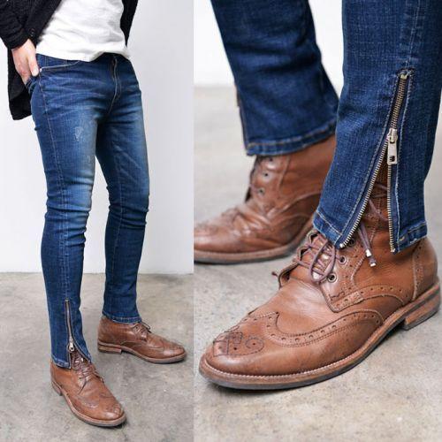 Body Skimming Skinny Cut Zipper Leg Jeans 282 via SNEAKERJEANS STREETWEAR SHOP