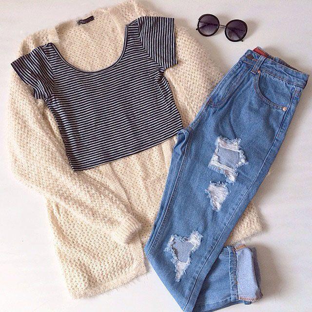 Crop top & jeans