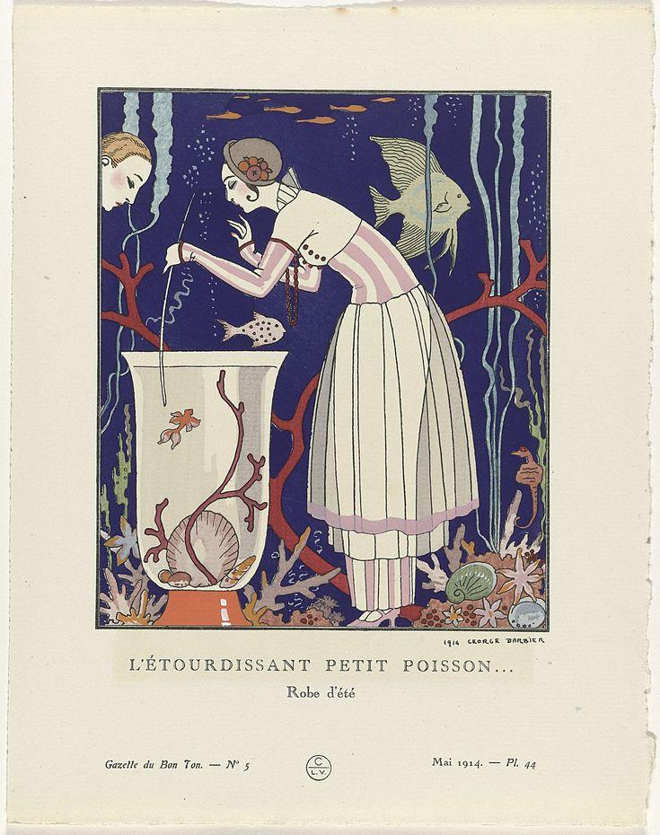"""Anonymous   Gazette du Bon Ton, 1914 - No. 5, Pl. 44:  L'étourdissant petit poisson... / Robe d'été, Anonymous, Lucien Vogel, Paul Cassirer, 1914   Staande vrouw voor een achtergrond met vissen, gekleed in zomerkleren van roze-witte gestreepte zijde met een dubbele rok van tule. Op het hoofd een strohoed versierd met ballen van koraal. Planche 44 uit Gazette du Bon Ton 1914, No. 5. Uitleg over de kleding op pagina """"Explication des Planches""""."""