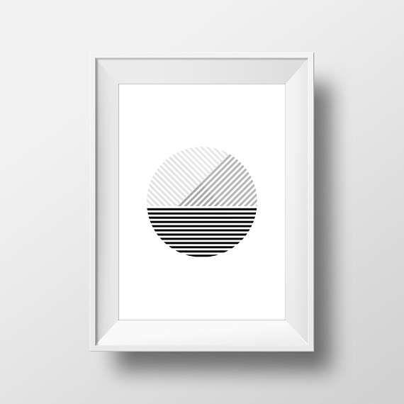 Minimalist Printable Art Geometric Poster Black by KYLprintable