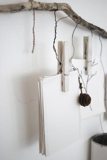 eldrid - hanging branch + wire  + clothespins + twine (detail)