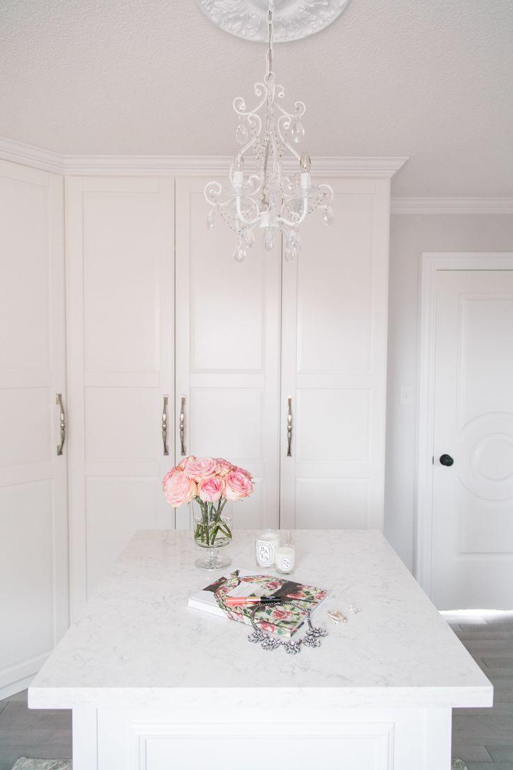 White walk in closet using Ikea Pax wardrobe system