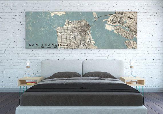 SAN FRANCISCO Canvas Print CA California Vintage map San Francisco Ca City Horizontal Wall Art Oversized navy blue poster panoramic ca map