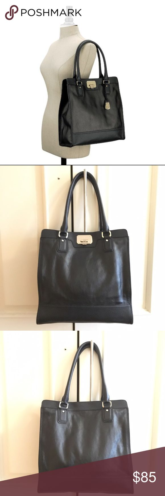 Cole Haan Vintage Valise II Kendra Tote Cole Haan Vintage Valise II Kendra Tote. Color is Black with Purple lining and Silver Hardware. Super cute tall Tote bag shape. Item as pictured. Final sale. Cole Haan Bags Totes