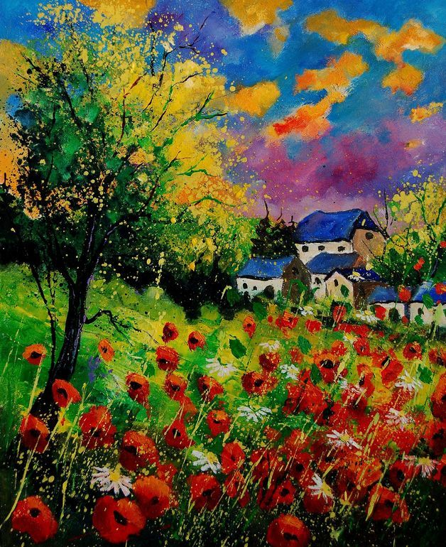 """Saatchi Art Artist: Pol Ledent; Oil 2011 Painting """"poppies and daisies"""""""