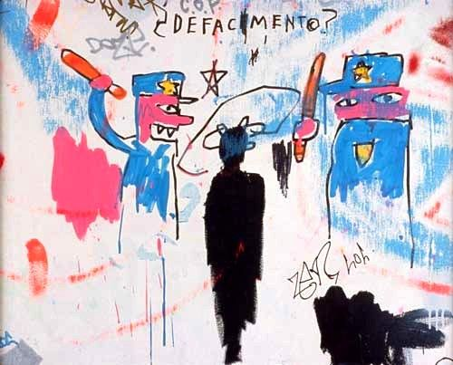 """Jean-Michel Basquiat's Defacement (The Death of Michael Stewart). Attorneys for Stewart's family described him as an almost docile 135-pound young artist"""" who was on his way home. According to the autopsy, Stewart's injuries of facial bruises and abrasions on his wrists were not linked to his death, but that he died of heart failure following a heart attack that put him into a coma. A physician witness at the autopsy said his death was caused by strangulation."""