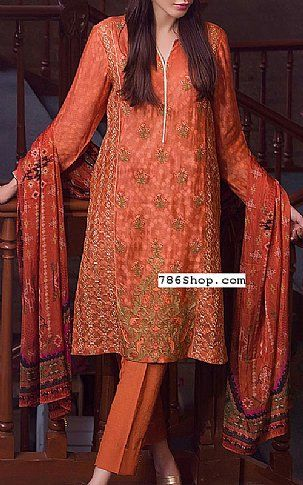 Rust Jacquard Suit | Buy Zeen Pakistani Dresses and Clothing online in USA, UK