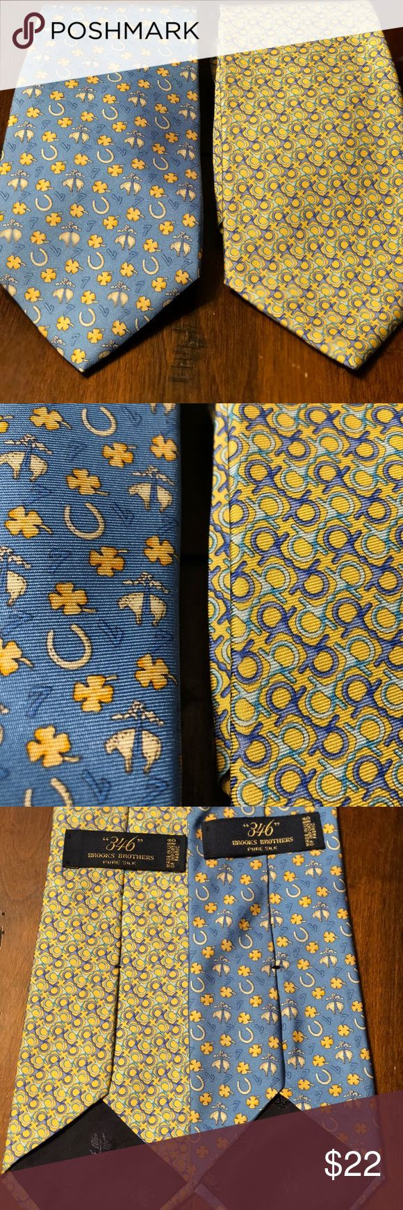 "(2) Brooks Brothers 346 Tie Pure Silk 2 Very Exquisite Brooks Brothers Ties ""346"" Pure Silk. Excellent Condition. Both Ties Included In Purchase. Brooks Brothers Accessories Ties"