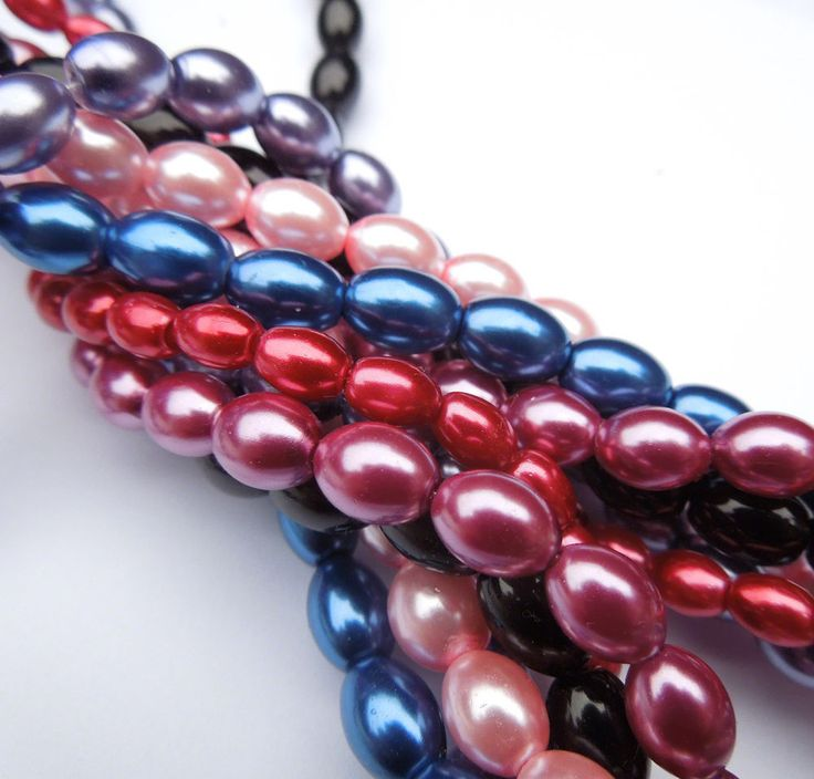 "16"" strand Glass Oval Rice Pearls Jewellery Making Beads 8mm x 6mm"