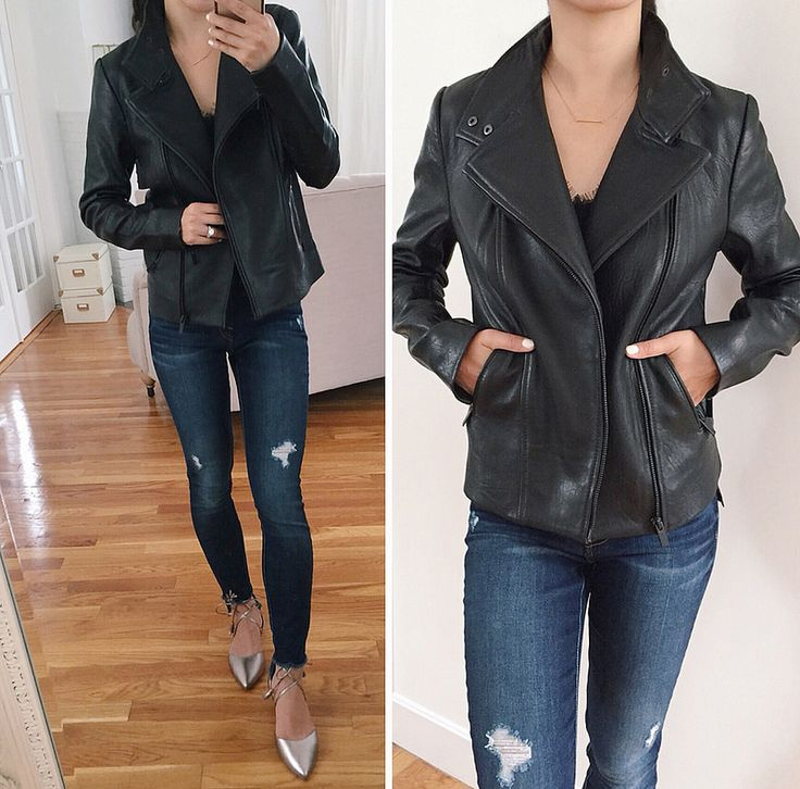 Extra Petite. Black lace cami+dark skinny jeans+silver lace-up flats+black leather jacket. Fall Casual Evening Outfit 2017