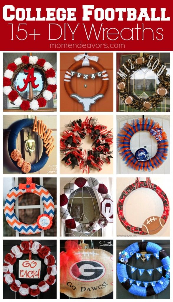15+ Great DIY College Football Wreath Tutorials  - different styles featuring different teams via momendeavors.com #football