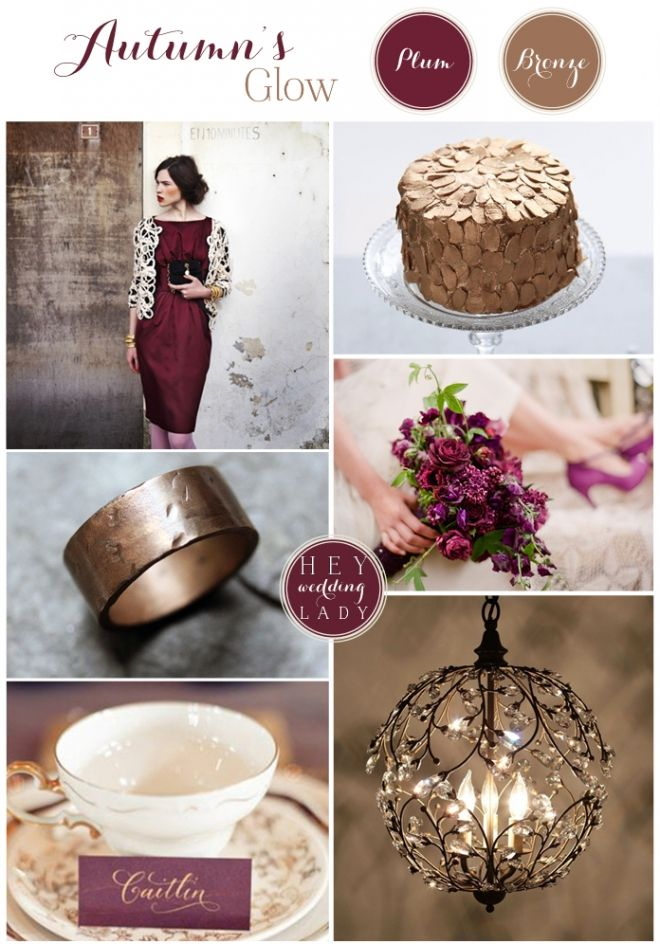 Autumn Glow - Bronze & Plum Wedding Inspiration Board