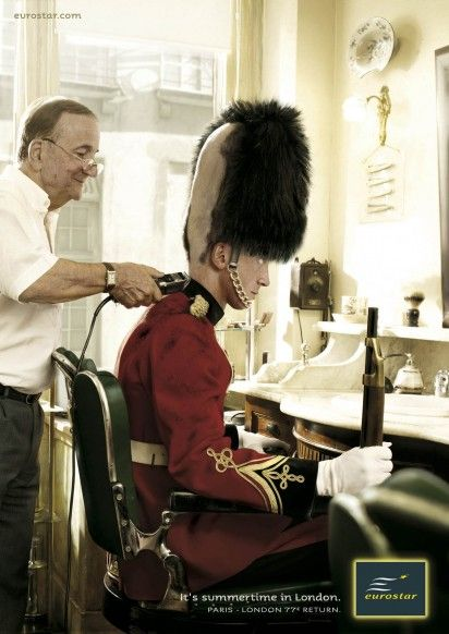 Eurostar ad Brittish guard getting barber haircut