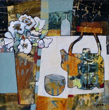 """Wonky Pots (Tea Kettle) by Linda Bell, acrylic collage, 16"""" X 16"""" 