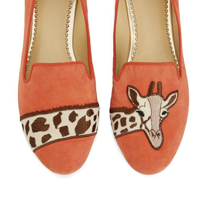 Pin for Later: Trop choute ces pantoufles flamands roses !  Giraffe Suede Smoking Slippers ($138)