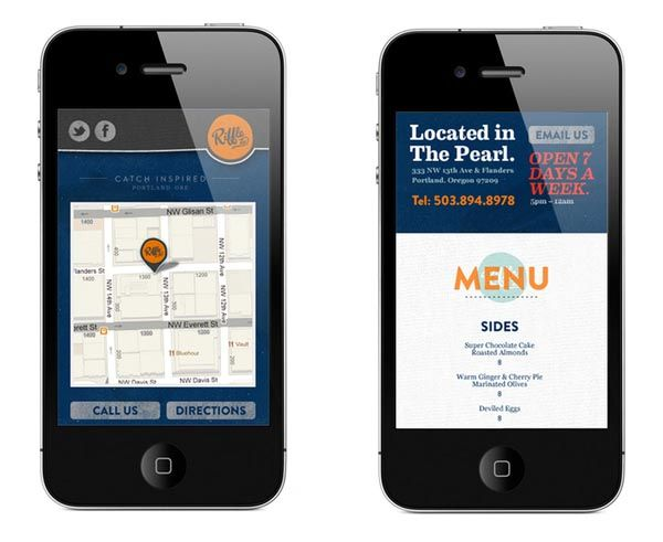 Restaurant website Riffle NW - mobile view