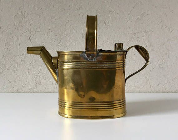 Brass Watering Can, Vintage Farmhouse Watering Jug, Flower Waterer