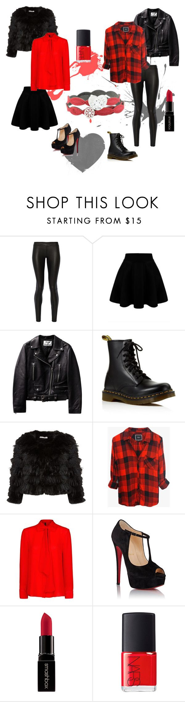 #SanValentine Style by krilajewels on Polyvore featuring Rails, MANGO, Alice + Olivia, The Row, Dr. Martens, Christian Louboutin, Smashbox, NARS Cosmetics, women's clothing and women's fashion