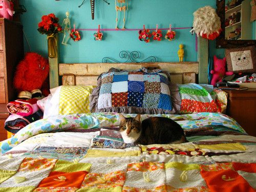 bright patchwork in bedroom