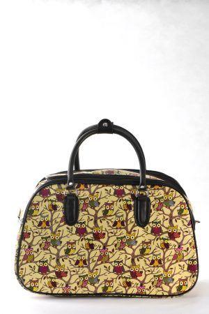 Τσάντα χειρός και ώμου  κίτρινο ανοιχτό χρώμα – σχέδιο κουκουβάγιες σε μικρό, μεσαίο και μεγάλο μέγεθος.  Ταξιδιού και επαγγελματικής χρήσης (για κομμώτριες, αισθητικούς κλπ)