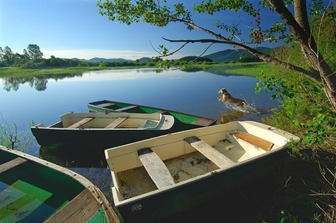 Cerkniško jezero je približno devet mesecev na leto jezero v pravem pomenu besede, v preostalem delu leta pa se spremeni v travnik in sprehajalne poti. Foto: Tomo Jeseničnik, www.slovenia.info.