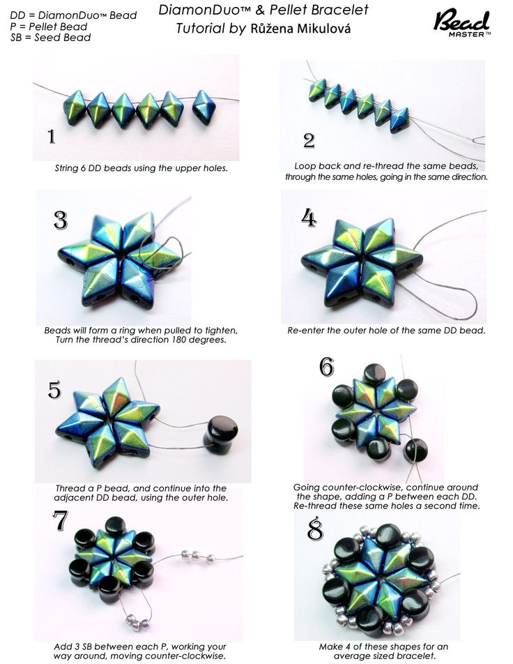DiamondDuo and Pellet Bead Bracelet - FREE Tutorial by1 of 2