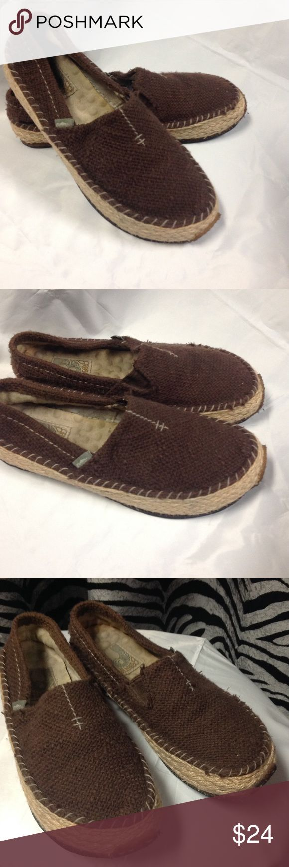 Green Toe Espadrilles...Size 8.5 Great Summer slip ons. Very rugged with a hard rubber sole that looks like recycled tire tread. Insides show some wear but in good condition. No flaws to note. Bundle for a better price. Green Toe Shoes Espadrilles