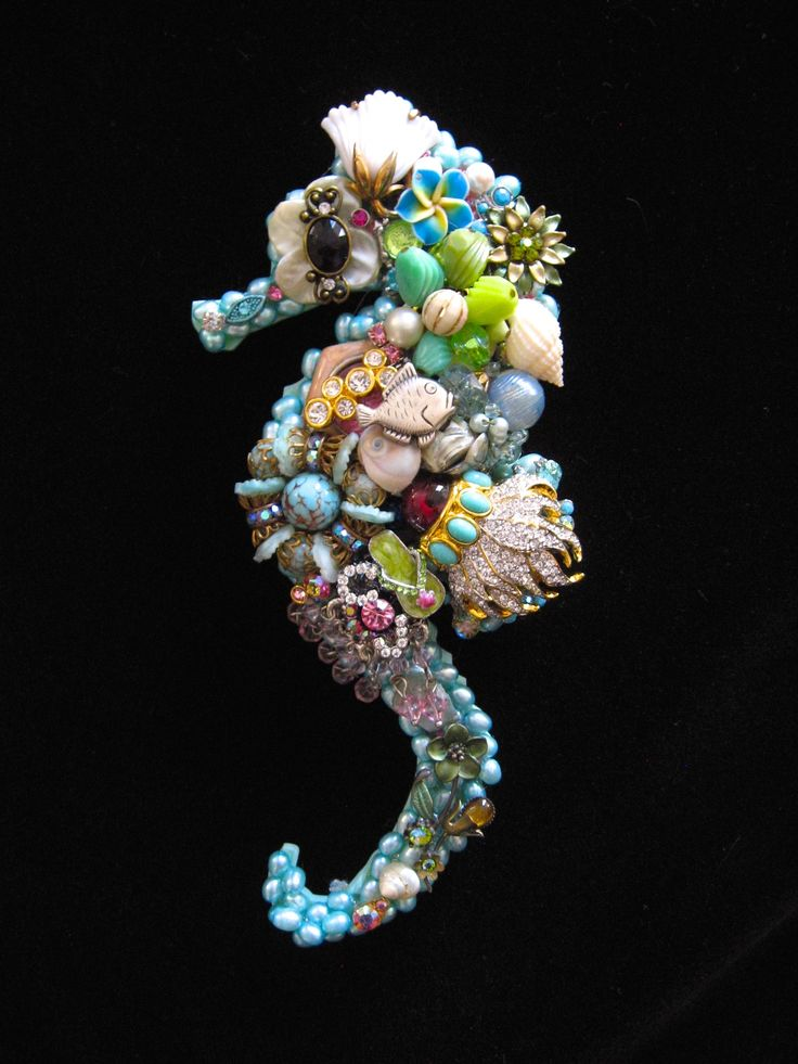 CJ Borden. Sami Seahorse. Vintage Jewelry Wall Art. Art Creations by CJ. Please contact me if interested in a custom seahorse.