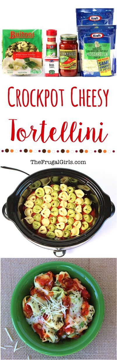 Crockpot Cheesy Tortellini Recipe! ~ from TheFrugalGirls.com ~ just 5 ingredients and you've got the most delicious, comfort food dinner the whole family will love!  SO easy!!  #slowcooker #recipes #thefrugalgirls