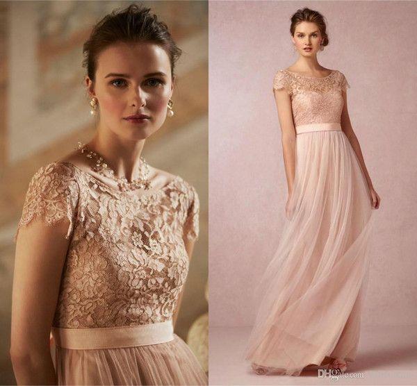 2016 barato caliente Blush Pink Prom vestidos de manga corta de encaje transparente sin espalda Fajas damas de honor largas para el partido de la boda vestidos formales CPS221