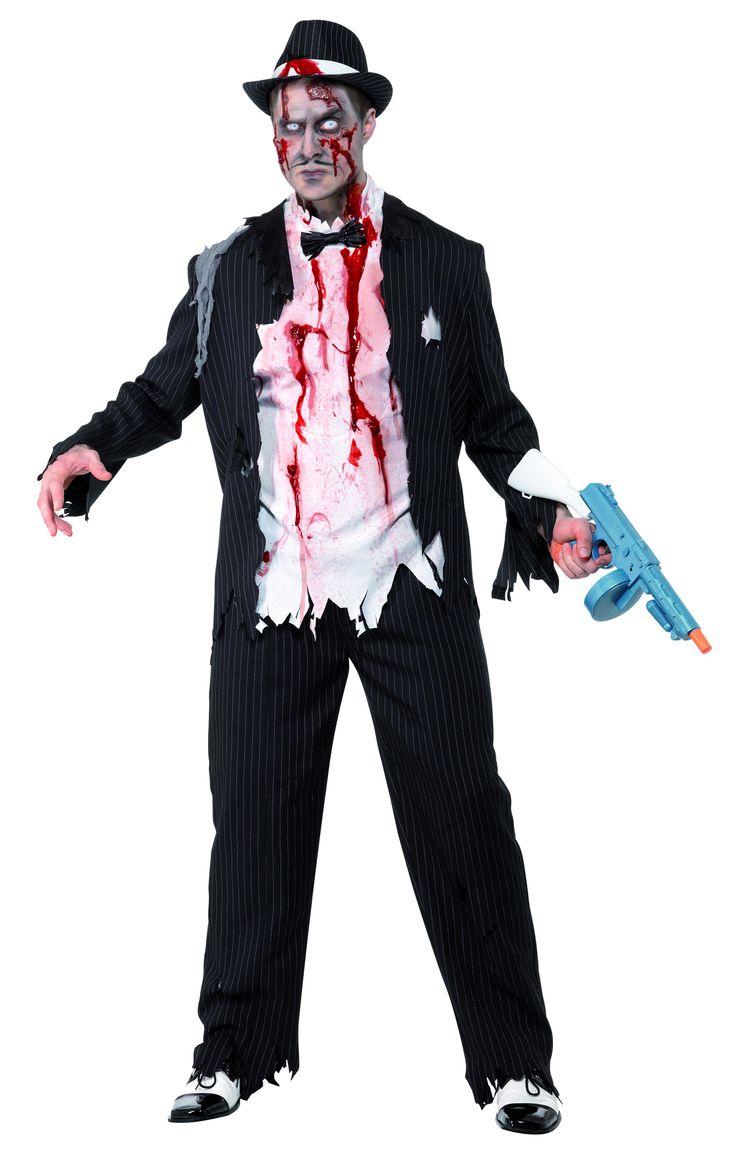 Zombie-Gangster Herrenkostüm Halloween: Diese super Verkleidung eines Zombiegangsters für Herren ist wie aus einem Horrorfilm entsprungen. Diese atemberaubende Verkleidung besteht aus dem zerrissenen Ganzkörperkostüm mit...
