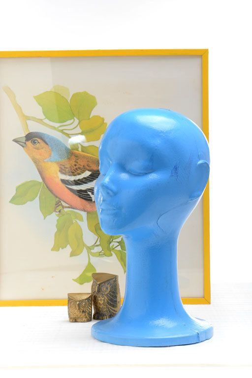 Cabeza de maniquí vintage de plástico azul maniquí por Brocantebcn
