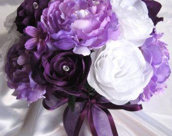 Soie de Bridal Bouquet de mariage fleurs Cascade par Rosesanddreams