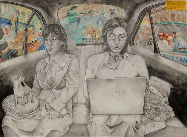 This O Level Art final piece was awarded an 'A' grade. The positioning of the curving forms used throughout the car interior demonstrates a sound understanding of perspective.