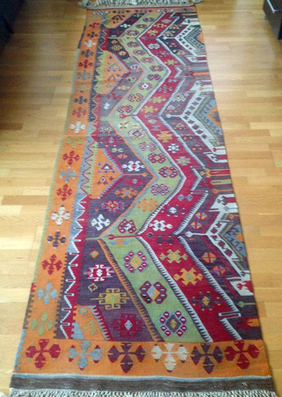 90 years old Kilim Runner, Unique Flat Woven, Turkish Kilim, Tribal, Multi Color, Vintage, 1920s, eye, amulet, running water, fertility