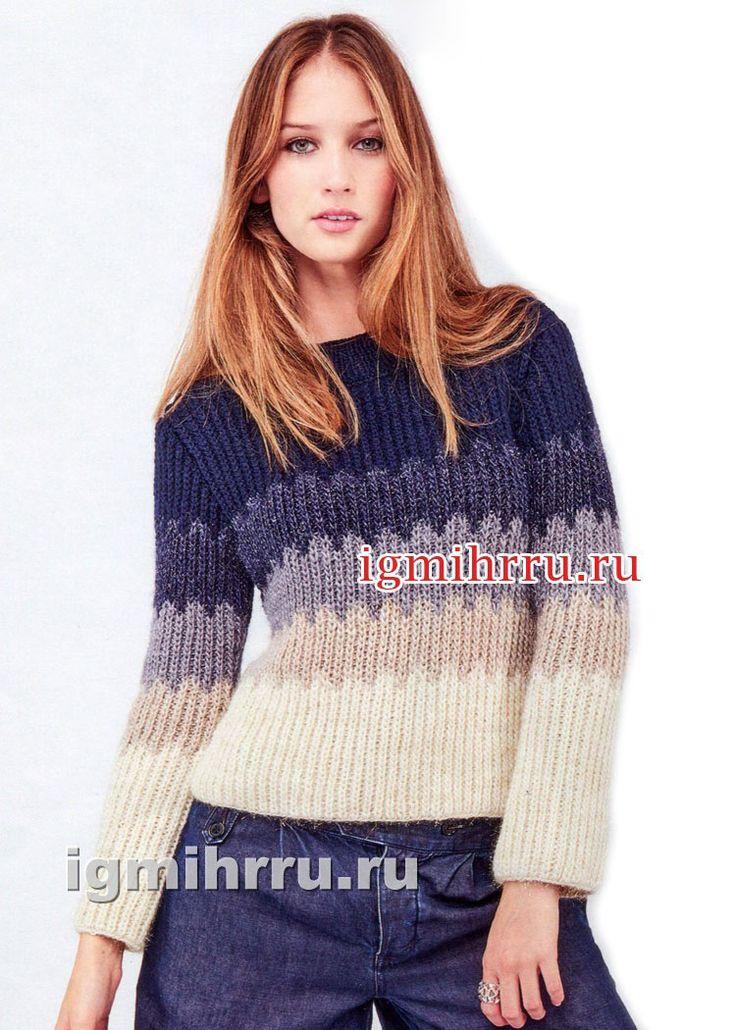 Пуловер из жаккардового узора с зубчиками. Вязание спицами