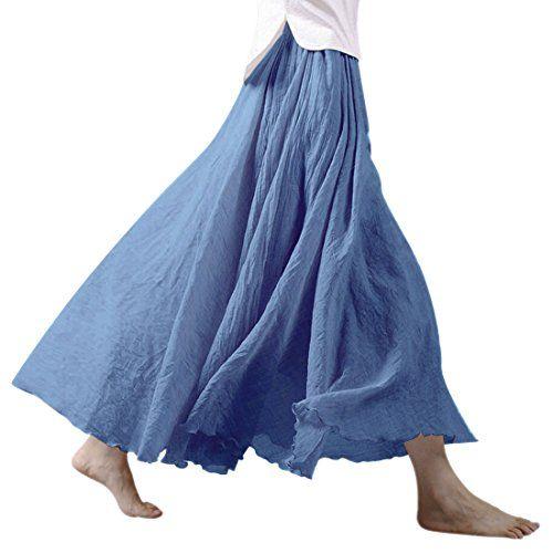 b0f6121d23eff4 Nlife Frauen böhmische Baumwolle Leinen Double Layer elastische Taille  langen Langer RockMaxi Rock- Gr. 95CM, Niagara