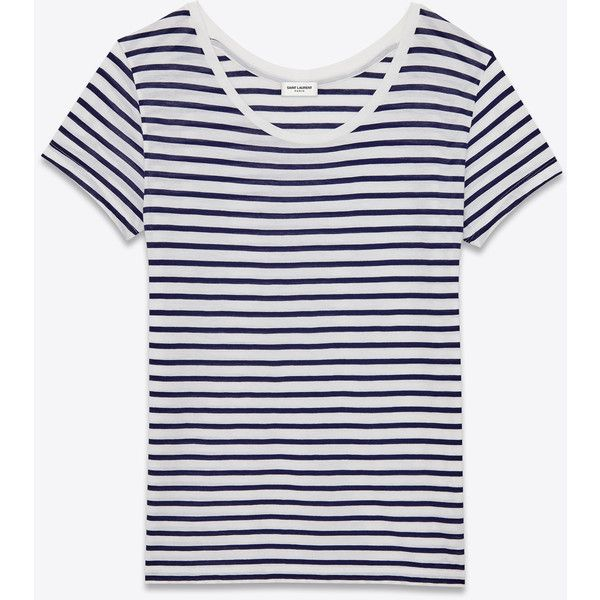 Saint Laurent Classic Short Sleeve T-Shirt (£265) ❤ liked on Polyvore  featuring tops, t-shirts, saint laurent, yves saint laurent, white tee,  short sleeve ...