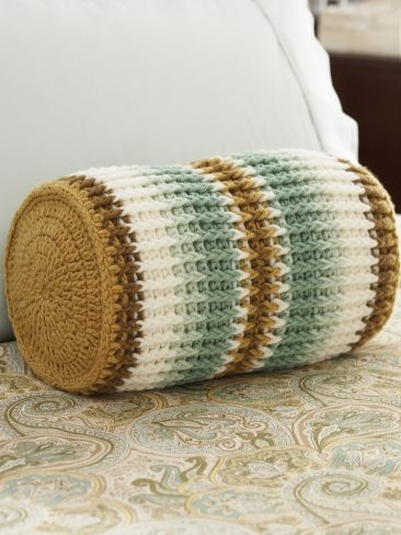 """Crochet pattern**From Yarnspirations.com. I didn't see the pattern but I'm sure you can find it. Its called  """"Sand & surf striped bolster"""" **"""