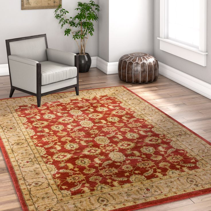 "Well Woven Vienna Traditional Oriental Country Soft Eclectic Floral Terra Red Area Rug (6'7 x 9'3 ) (Terra), Size 6'7"" x 9'3"""
