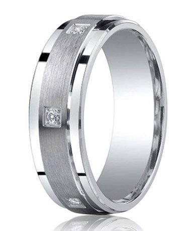 Satin Finished Silver Wedding Band with Polished Edges and 6 Round Diamonds - A satin finish center band is flanked by polished step-down edges in this gorgeous diamond wedding band for men. Six round-cut pave diamonds encircle the band, adding sparkle and sophistication to this 7mm band! To learn more visit - http://www.justmensrings.com/Satin-Finished-Silver-Wedding-Band-with-Polished-Edges-and-6-Round-Diamonds-7mm--JBSD1002_p_929.html