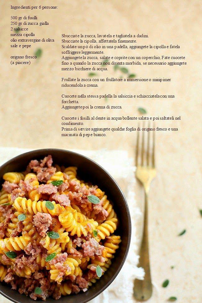 Cucina Scacciapensieri: Fusilli con crema di zucca e salsiccia