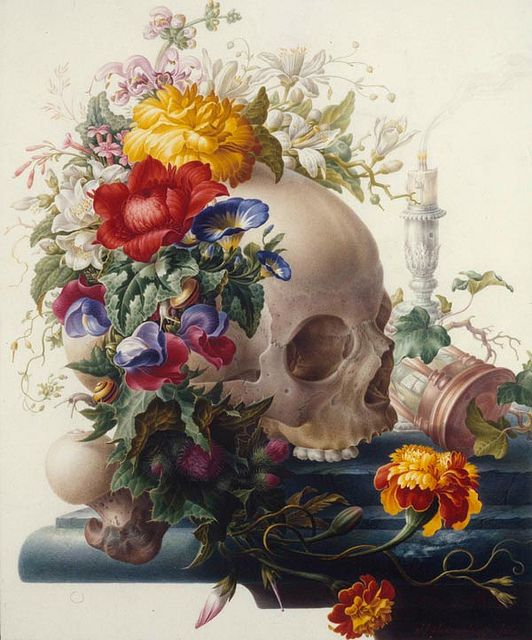 "Herman Henstenburgh, Vanitas, c. 1700  Vanitas: The Latin word means ""vanity"" and loosely translated corresponds to the meaninglessness of earthly life and the transient nature of all earthly goods and pursuits."