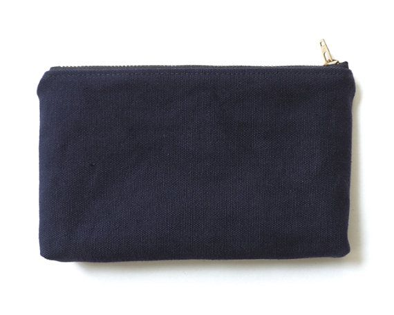 WWII Canvas Pencil Case Wallet Pouch Recycled Navy Blue by Lindock, $25.00