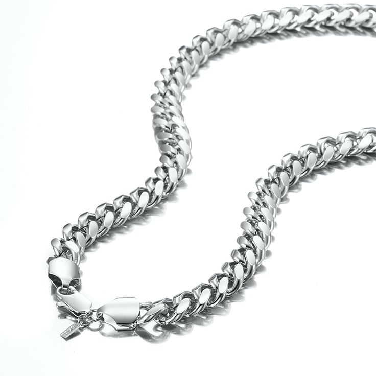 White Gold Layered Chunky Curb Chain Necklace with Lobster Clasp | Allure Gold