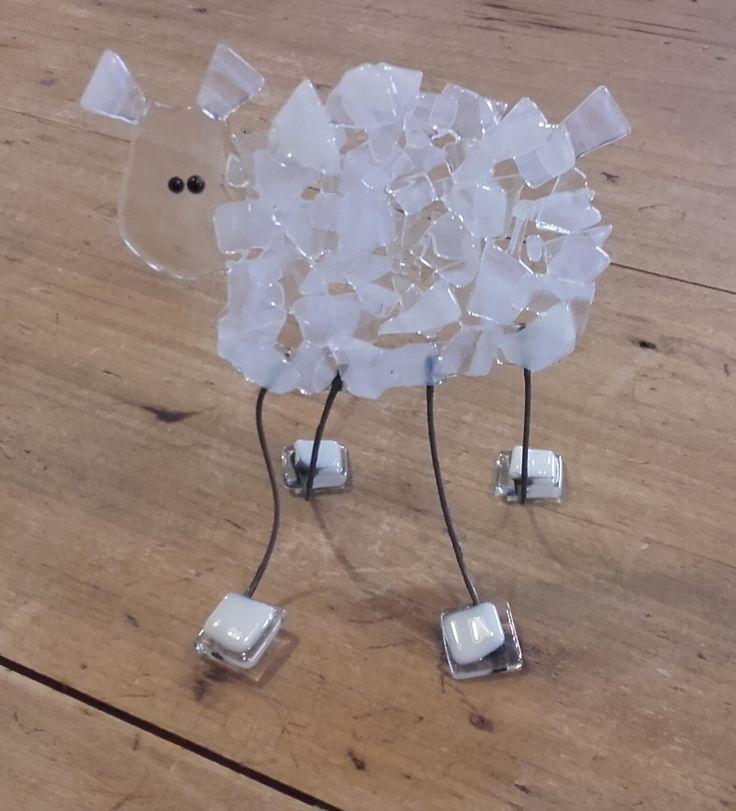 Fused glass sheep