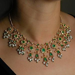 Vintage East Indian Wedding Dowry Natural Emerald, Rose Cut Diamond & Freshwater Pearl Necklace